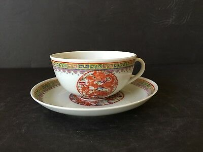 Chinese Antique 20Th Porcelain Famille Verte Teacup & Plate