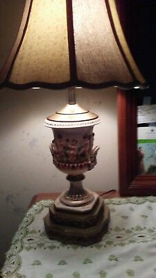Antique Reticulated Porcelain Lamp Victorian Shade Trophy Urn Light Capodimonte