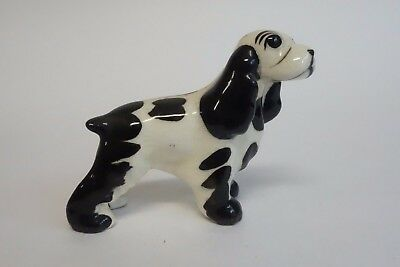 Hagen Renaker Vintage BLACK & WHITE COCKER SPANIEL Dog Miniature Figurine