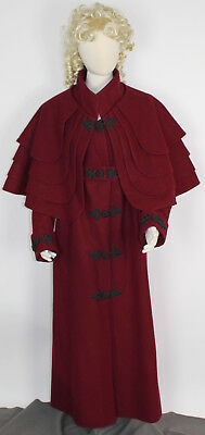 Women's Regency Coat Greatcoat Repro Removable Capes Size M/L Wool Frog Closure