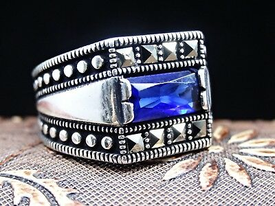 Turkish Jewelry 925 Sterling Silver Sapphire Stone Mens Ring Sz 9 free resize