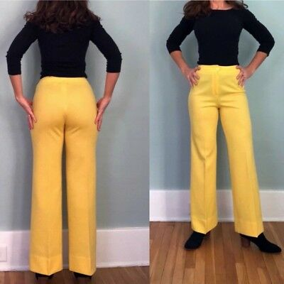 VTG 60s 70s HIGH WAISTED Polyester HIPPIE Disco Bellbottoms FLARE Pants  Small