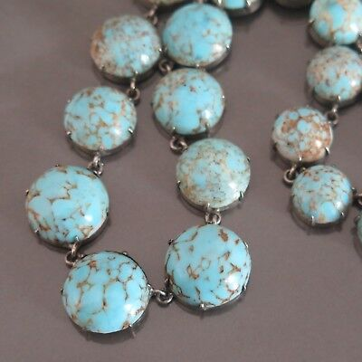 Vintage Art Deco Turquoise Glass Silver Tone Necklace