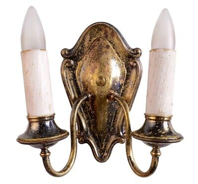 Antique two arm brass federal style two candle sconce pair