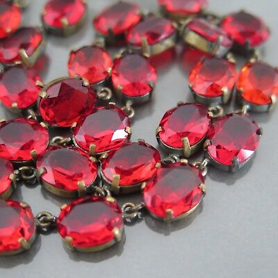 Vintage 1930s Art Deco Signed Czech Glass Cherry Red Necklace