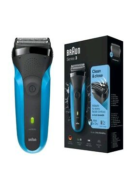 Braun Series 3 Mens Rechargeable Wet & Dry Cordless Electric Shaver - Blue 310S.