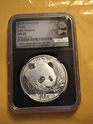 2018-Silver Panda Early Releases MS-69 35TH Ann. Black Retro