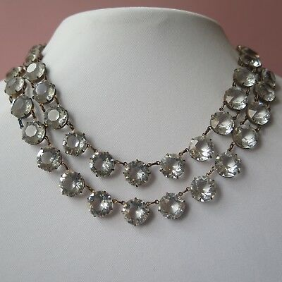 Vintage 1930's- 40's Art Deco Open Back Openback Large Crystal Necklace
