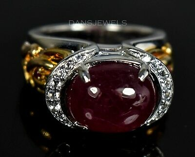 Designer Yellow GOLD & Sterling Silver NATURAL RED RUBY Diamond RING Ring SZ 6