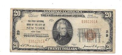 1929 $20 First National Bank Of The City Of New York Charter # 29