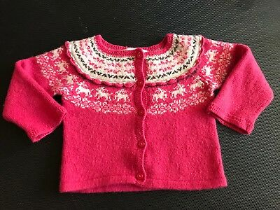 Janie And Jack 6-12 Months Wool Blend Sweater Pink Buttons Cardigan Baby Girl