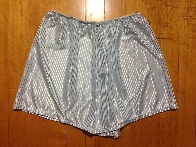 Vintage Baby Blue Delicate Satin Smooth Nylon Sissy Sleep Lounge PJ Shorts MED