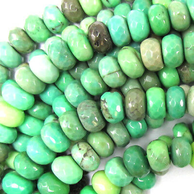"""8mm faceted green chrysoprase rondelle beads 16"""" strand S1"""