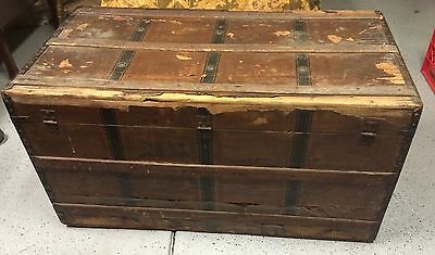 Vintage Flat Top Wood Steamer Chest