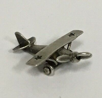 Vintage Estate Sterling Silver .925 3D Airplane Articulated Moveable Charm