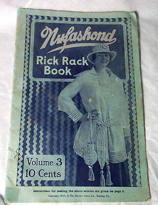 100 y.o. antique rick rack book lace crochet knit patterns vintage doily fabric