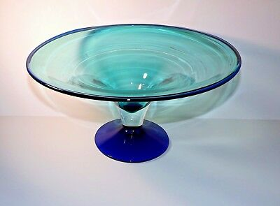 "Blenko  Glass  Centerpiece Console Bowl Compote Tazza Huge 14"" X  7"""
