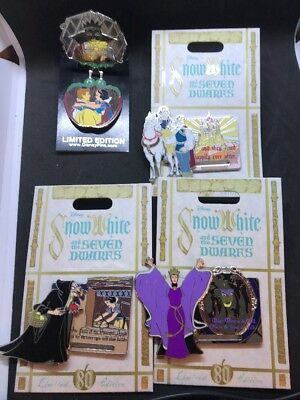 Disney Snow White And The Seven Dwarfs Four Pin 80th Anniversary Set LE Pins NEW