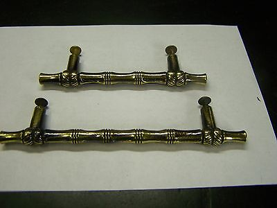 (2) Vintage Matching Drawer-Door Pull-Bamboo Style Solid Brass w/screws