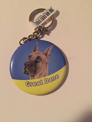 Great Dane Button Key Chain New