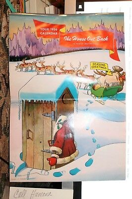 """Vintage Calendar 1956 """"The House out back"""" Very good Santa + Out House Humor"""