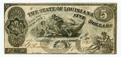 """1862 Cr.10 $5 State of LOUISIANA """"South Strikes Down Union"""" Note - NO RESERVE!"""