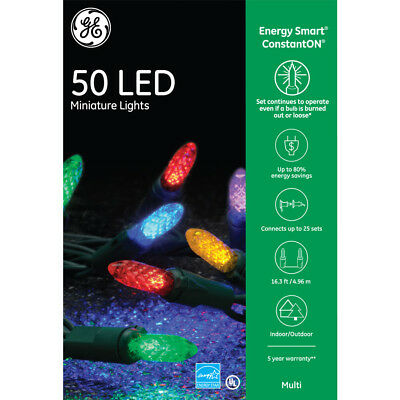GE Energy Smart 50 LED Multi-color Mini Lights Green Wire Indoor/Outdoor NIB