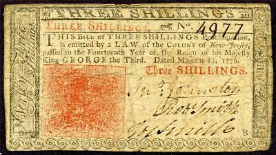 HGR FRIDAY 1776 3 Shillings NEW JERSEY ((WANTED!!)) NICE MID GRADE