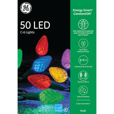 GE Energy Smart 50 LED Multi-color C6 Lights Green Wire Indoor/Outdoor NIB