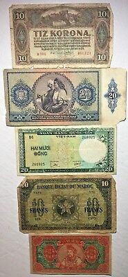 Rare 5 Piece World Paper Money Banknote Collection Lot - All CIRCULATED***