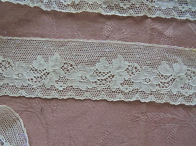 ANTIQUE DELICATE AIRY IVORY NET LACE FLORAL MOTIF 3yds 2 ft by 2 1/4in DOLLS