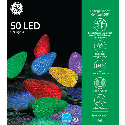 GE Energy Smart 50 LED Multi-color C9 Lights Green Wire Indoor/Outdoor NIB
