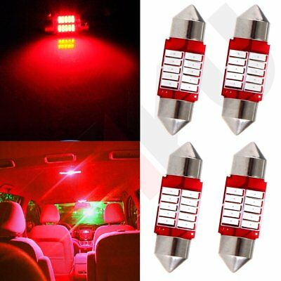 4x Festoon Interior 31mm 4014 10SMD Car LED Light bulbs Dome Map Trunk Lamp Red