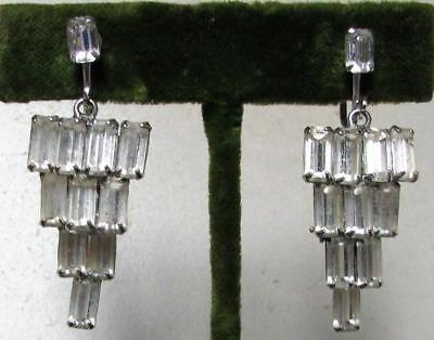Vintage 40's Art Deco Glass Crystal Rhinestone Clip On Earring Prong Set Clear
