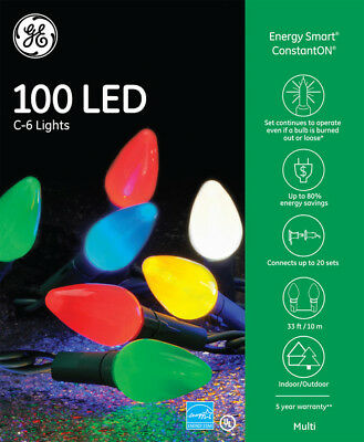 GE Energy Smart Colorite 100 LED Multi-color C6 Lights Green Wire Indoor/Outdoor