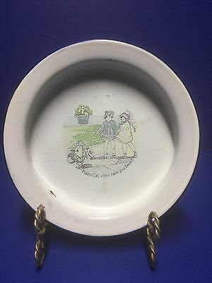 Antique Enamelware/Granitewear Baby Bunting Plate w/2 Little Girls & Dressed Cat
