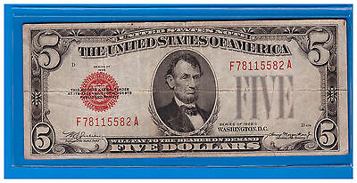 1928-C Series $5 United States Note- Legal Tender Note Lot X-80