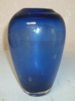 Vtg Blown Art Glass/Possibly Murano/Controlled Bubble Cobalt Blue Flower Vase