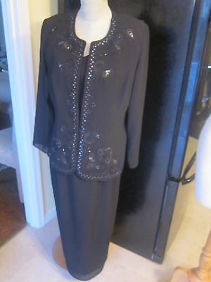 new GORGEOUS MOTHER OF THE BRIDE TWO PIECE OUTFIT beaded with jacket 12 petite
