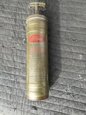 """Vintage Antique """"FOMOCO"""" Ford Motor Company Brass Fire Extinguisher"""