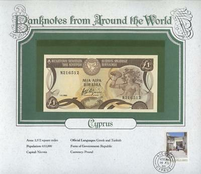 1982 CYPRUS 1 Pound P50a & Postmark - (Banknotes From Around The World) - UNC