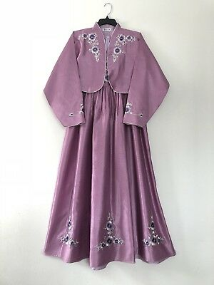 Authentic Korean Dress Purple With Flower Embroidery Made In Korea Hanbok New