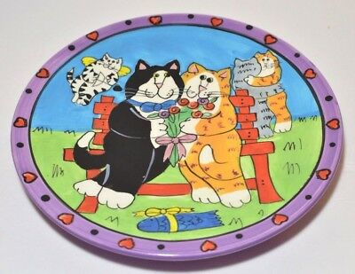 Cat Plate Catzilla Candace Reiter 2002 Kitty Romance Ginger Tuxedo Tabby Ceramic