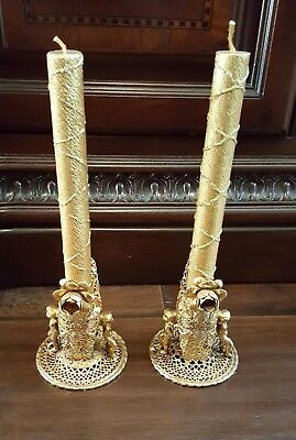 Pair Of Vintage Hollywood Regency Brass Cherubs Candle Holders With Gold Candles