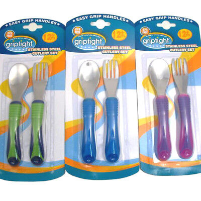NEW GRIPTIGHT STAINLESS STEEL SOFT GRIP FORK SPOON CUTLERY SET 12m+ BABY INFANT