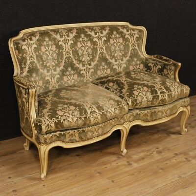 Sofa lacquered furniture Italian couch golden wood living room antique style 900