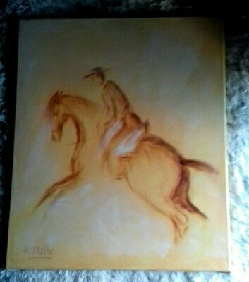 A Charming Oil Painting Horse and Jockey in faded motion Signed by who? 50 x 60