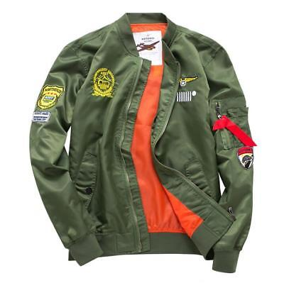 Mens MA1 Pilot Coats Loose Fit Flight Army Green Casual Jackets Outwear Fashion