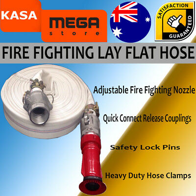 "Fire Fighting Lay Flat Water Hose Couplings Genuine Kasa 30m 1.5"" High Pressure"