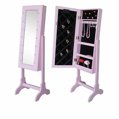 fashion Pink Mirror Jewelry Cabinet Armoire W/LED Lights Stand Mirror Rings us